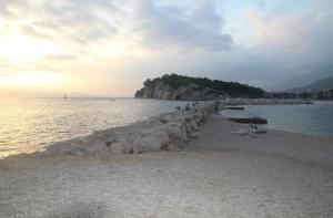 Makarska Beach and sea wall.