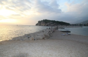 Makarska Beach and sea wall.