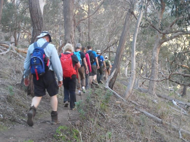 Members of the  WalknFork Meetup Group on a recent hike in Werribee Gorge.