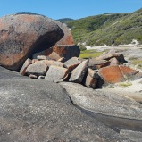 Ochres and greys in the rocks on Squeaky Beach.