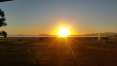 Sunrise over the water at the Tidal View Holiday Cottage at Yanakie, Wilson's Promontory.
